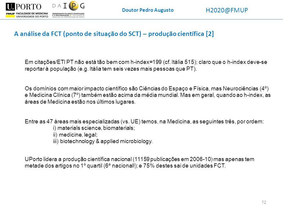 A análise da FCT (ponto de situação do SCT) – produção científica [2]
